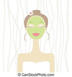 mulher, máscara, cosmético, bonito, rosto