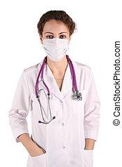 mulher, máscara, isolado, retrato, branca, doktor