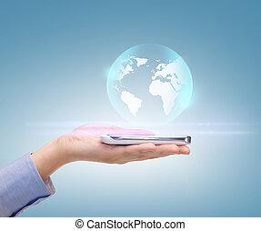 mulher, mão, com, esfera, globo