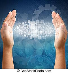 mulher, mão, empurrar, toque, tela, interface