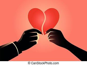 mulher, mão, homem, coração, segurando, parte, símbolo, cada