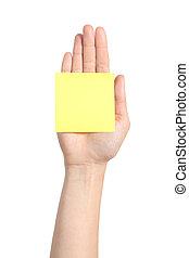 mulher, mão, palma, segurando, um, amarela, notepaper