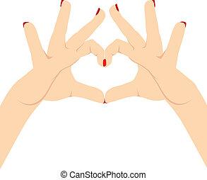 mulher, mãos, ame coração