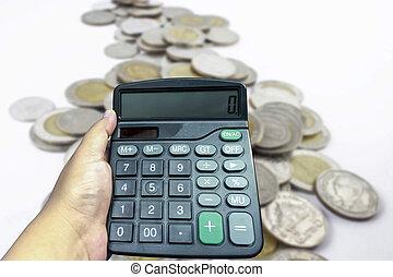 mulher, mãos, com, um, calculadora