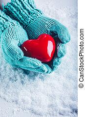 mulher, mãos, em, luz, teal, tricotado, mittens, é,...