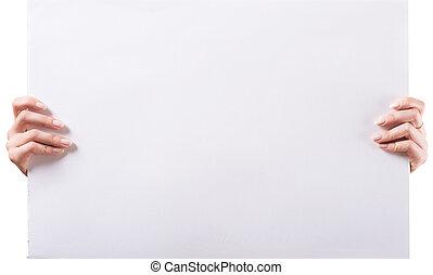 mulher, mãos, segurando, vazio, branca, em branco, tábua,...