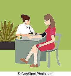 mulher, médico, pressão, sangue, enfermeira, cheque