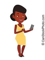 mulher, móvel, jovem, telefone., segurando, sorrindo