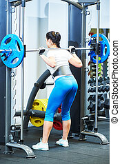 mulher, músculos, costas, exercício