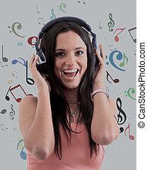 mulher, música, jovem, escutar, fones