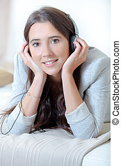 mulher, música, jovem, relaxante