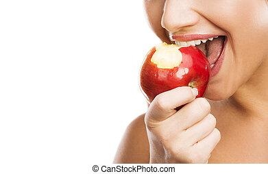 mulher, maçã