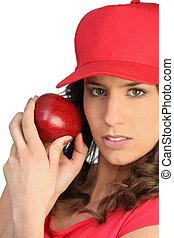mulher, maçã, vermelho