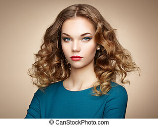 mulher, magnífico, cabelo, elegante, moda, retrato
