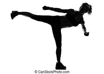 mulher, malhação, condicão física, postura