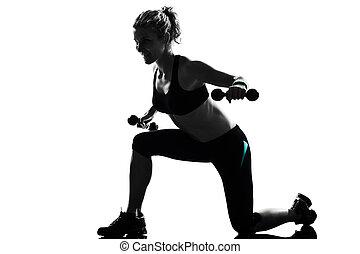 mulher, malhação, condicão física, postura, treinamento peso