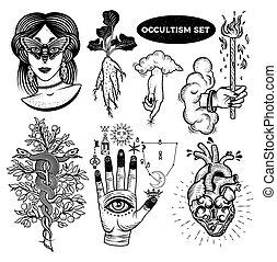 mulher, mandrake, lock., mão, árvore, alchemical, occultism, coração, olhos, mão, jogo, nuvens, raiz, moth, símbolos, deus, cobras