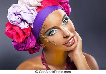 mulher, mantô, coloridos, Fazer,  -, cima, rosto, luminoso, bonito, Ouro