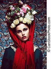mulher, mantô, grinalda, vintage., roses., retro, vermelho