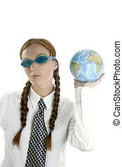 mulher, mapa, googles, negócio, mundo