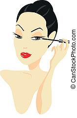 mulher, maquiagem aplicando
