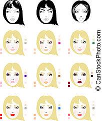 mulher, maquilagem, rosto, aplicação, amostras, loiro, esquema