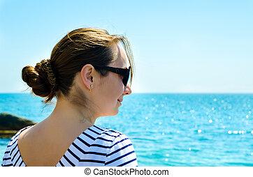 mulher, mar