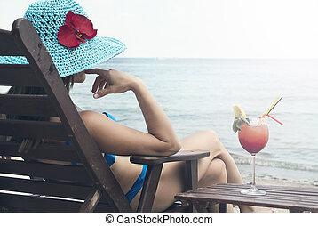 mulher, mar, jovem, relaxante