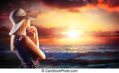 mulher, mar, olhar, pôr do sol