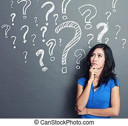 mulher, marca pergunta