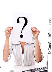 mulher, marca pergunta, negócio