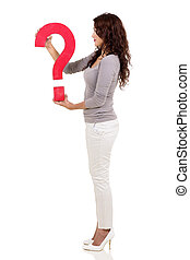 mulher, marca pergunta, segurando, vista lateral