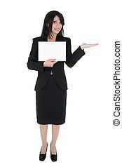 mulher, marketing, um, produto