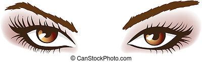 mulher, marrom, eyes.