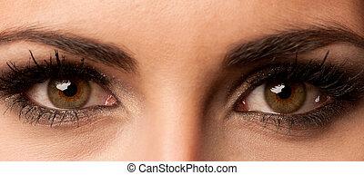 mulher, marrom, olho, com, cor pastel, maquilagem, e, longo,...