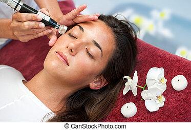 mulher, massage., toxina, facial, liberação, tendo