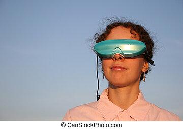 mulher, massagem, óculos