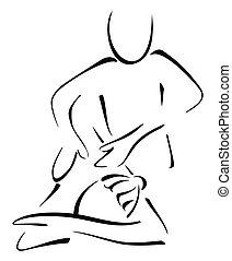 mulher, massagem
