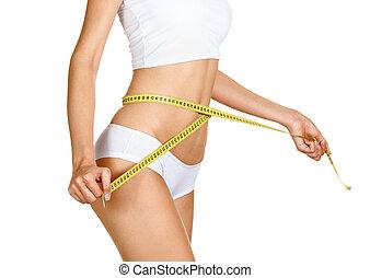 mulher, medindo, dela, waistline., perfeitos, adelgaçar,...