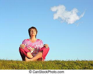 mulher, meditação, com, clo