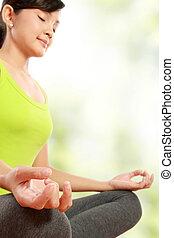 mulher, meditação