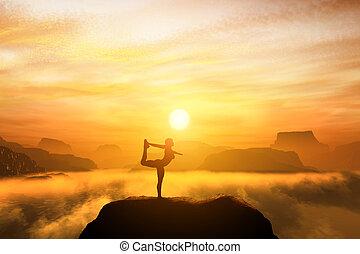 mulher meditando, em, a, dançarino, posição ioga, ligado, a, topo, de, um, montanhas
