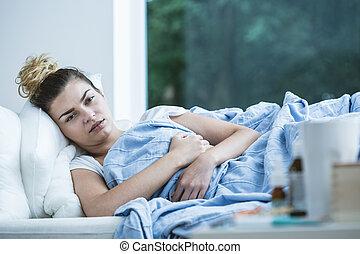 mulher, mentindo, cama, doente