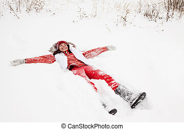 mulher, mentindo, neve