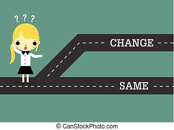 mulher, mesmo, passado, futuro, escolher, ou, mudança