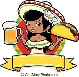 mulher, mexicano, cerveja, ilustração, taco., vetorial