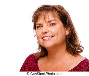 mulher, middle-aged, isolado, alegre, retrato, sorrindo, branca