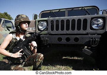 mulher, militar, excitado