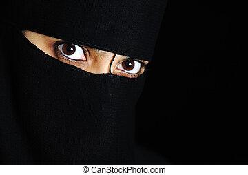 mulher, mistério, olhos, exoticas, oriental