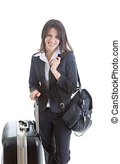 mulher, mochila, isolado, mala, viajante, sorrindo, caucasiano